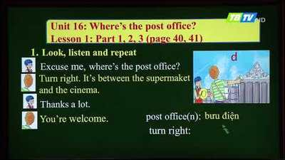 MÔN TIẾNG ANH - LỚP 5 | UNIT 16: WHERE'S THE POST OFFICE?- LESSON 1 |20H30 NGÀY 04.05.2020 | HANOITV